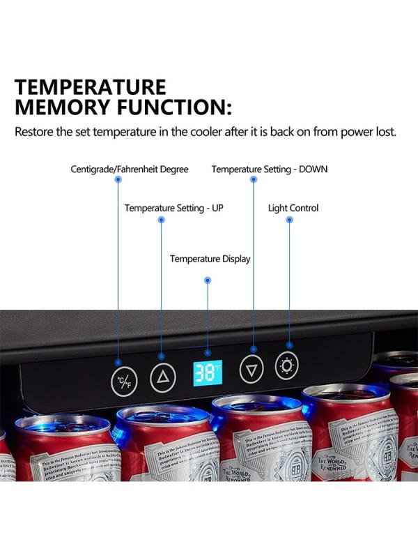 "Kalamera 24"" Built-in 5.3 Cu.ft 175 Can Single Zone Beverage Refrigerator"