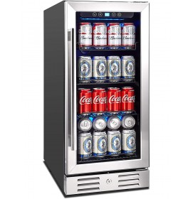 "Kalamera 2.8 Cu.ft 15"" Built-in 96 Can Beverage Cooler with Dual Pane Glass Door"