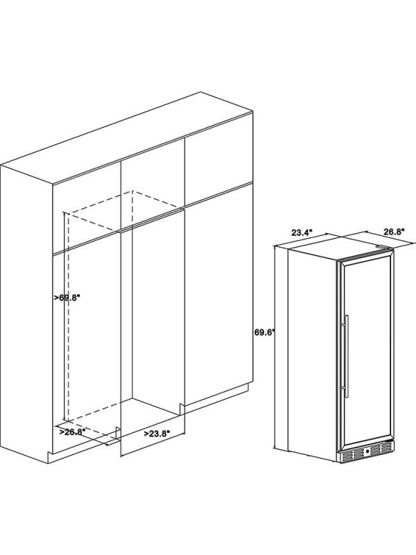 "Kalamera 24"" 15.9 Cu.ft 157 Bottle Built-in Wine Refrigerator"