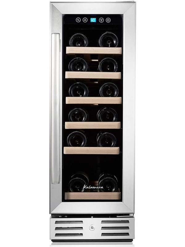 Kalamera 12'' 2.2 Cu.ft 18 Bottle Built-in Wine refrigerator with Stainless Steel & Double-Layer Tempered Glass Door