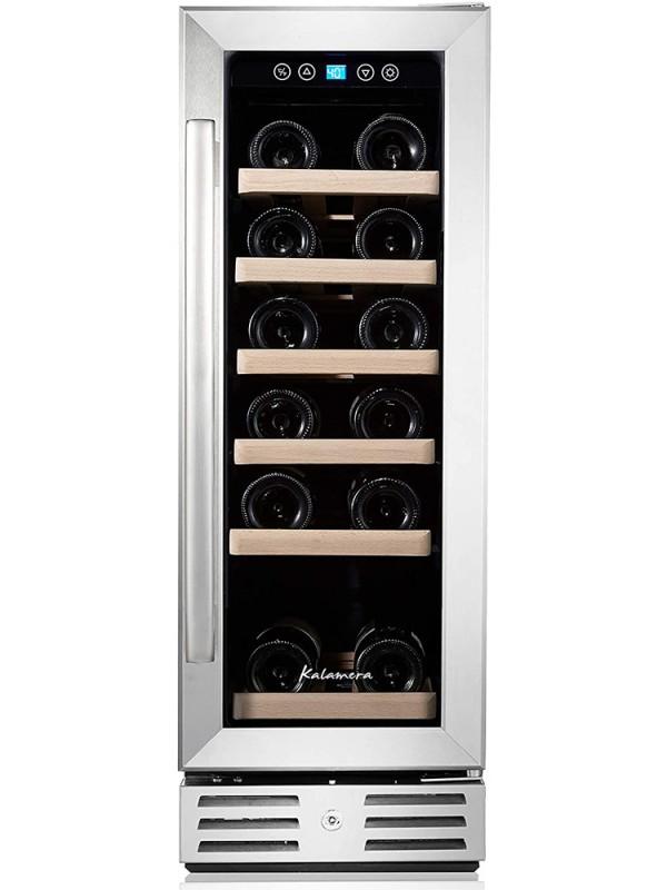 Kalamera 12'' 2.2 Cu.ft 18 Bottle Built-in Wine Cooler With Stainless Steel Glass Door
