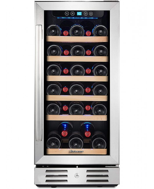 15'' Wine Cooler 30 Bottle Built-in or Freestanding with Stainless Steel Tempered Glass Door