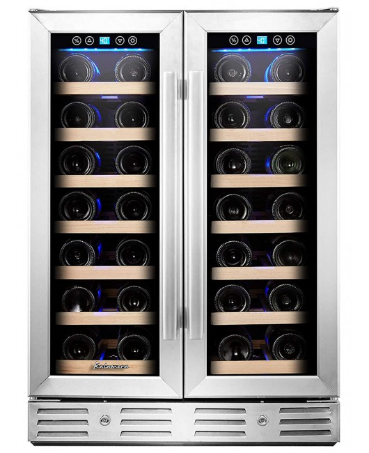 "Kalamera 24"" 4.2cu.ft 40-bottle Built-in Wine Cooler Two Door Dual Zone"
