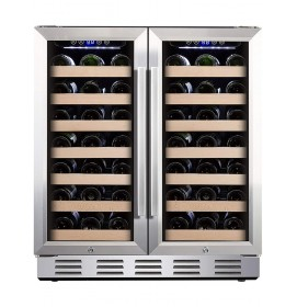 Kalamera 30'' Built-in 6.0 Cu.ft 66 Bottle Two French Glass Door Dual Zone Wine Cooler