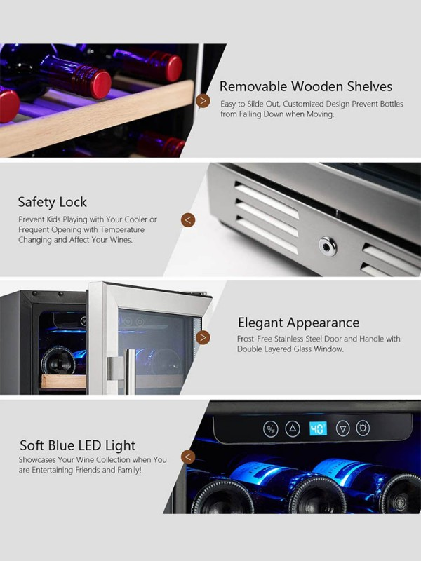 15'' Wine Cooler 30 Bottle Built-in or Freestanding with Stainless Steel Tempered Glass Door & Memory Function