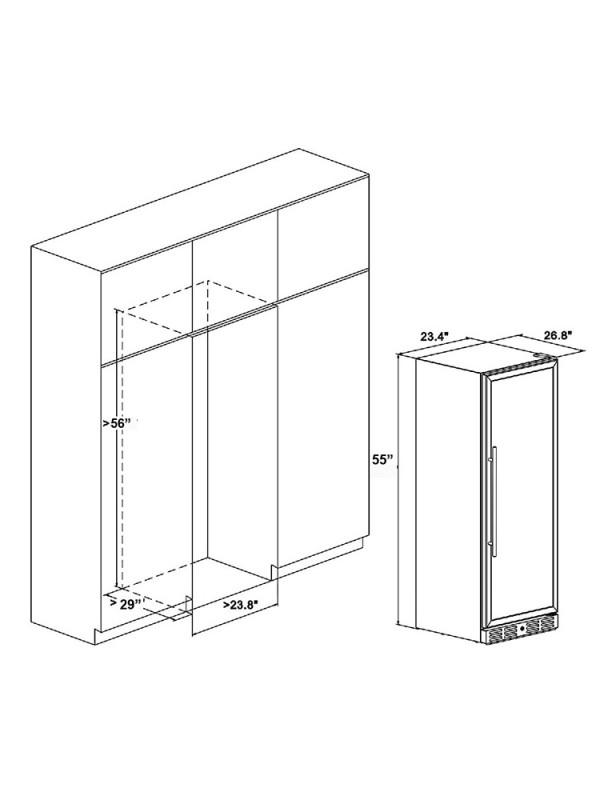 "Kalamera 24"" 127 Bottle Built-in Wine Cooler Fridge Single Zone Wine Refrigerator"