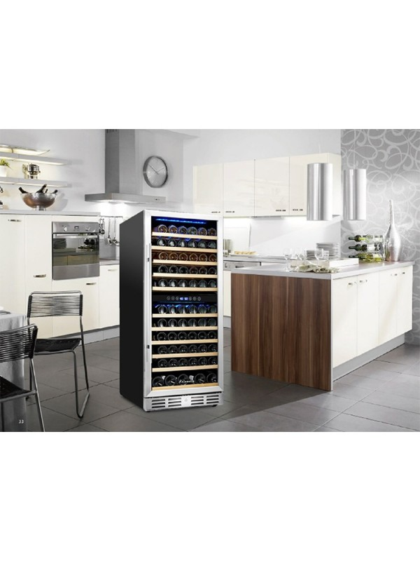 "Kalamera 24"" 117 Bottle Built-in Wine Cooler Fridge Dual Zone Wine Refrigerator"