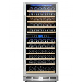 "Kalamera 24"" 11. 8Cu.ft 117 Bottle Built-in Frost-free Dual Zone Wine Refrigerator"